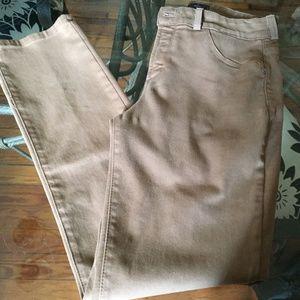 NYDL khaki Leggings lift tuck size 8